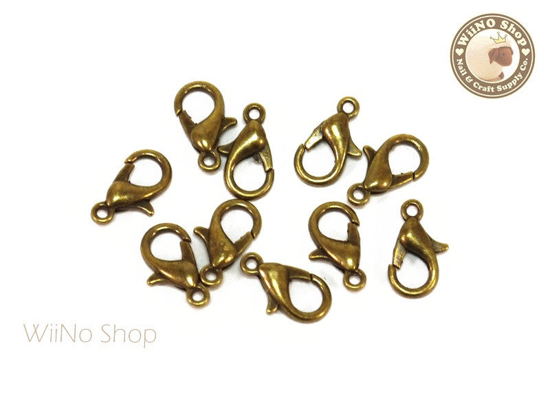 12 x 6mm Antique Bronze Plated Lobster Claw Clasps - 10 pcs