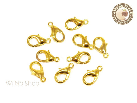 12 x 6mm Gold Plated Lobster Claw Clasps - 10 pcs
