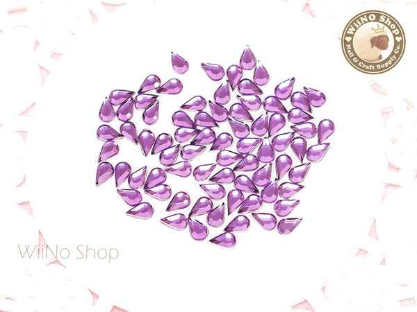 5 x 3mm Purple Amethyst Drop Flat Back Acrylic Rhinestone Nail Art - 100 pcs