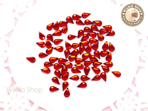 5 x 3mm Red Siam Drop Flat Back Acrylic Rhinestone Nail Art - 100 pcs