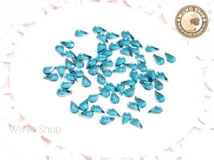 5 x 3mm Blue Aquamarine Drop Flat Back Acrylic Rhinestone Nail Art - 100 pcs