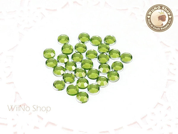 5mm Light Green Perdot Round Flatback Acrylic Rhinestone - 100 pcs