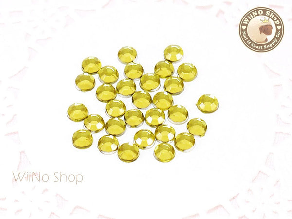 5mm Light Yellow Citrine Round Flatback Acrylic Rhinestone - 100 pcs