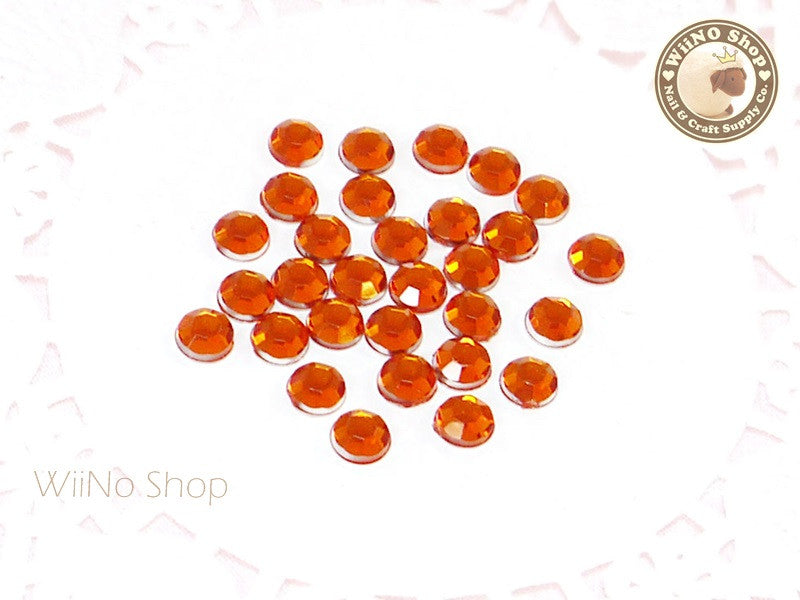5mm Orange Fireopal Round Flatback Acrylic Rhinestone - 100 pcs