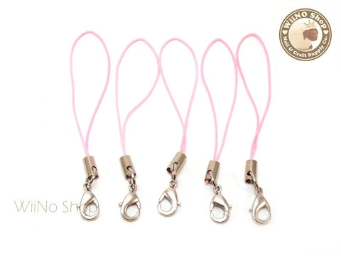 Pink Strap Cell Phone Strap with Silver Lobster Clasp - 5 pcs