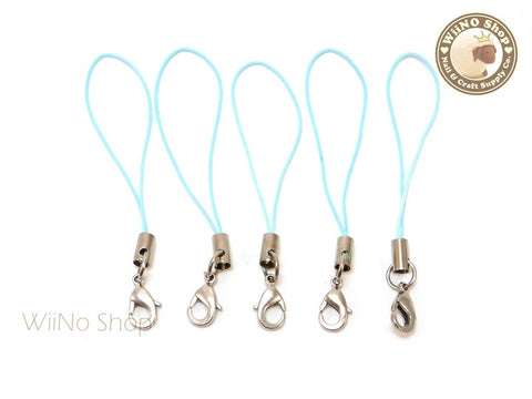 Baby Blue Strap Cell Phone Strap with Silver Lobster Clasp - 5 pcs
