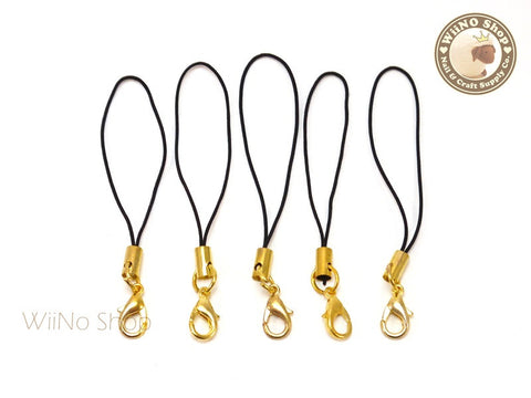 Black Strap Cell Phone Strap with Gold Lobster Clasp - 5 pcs