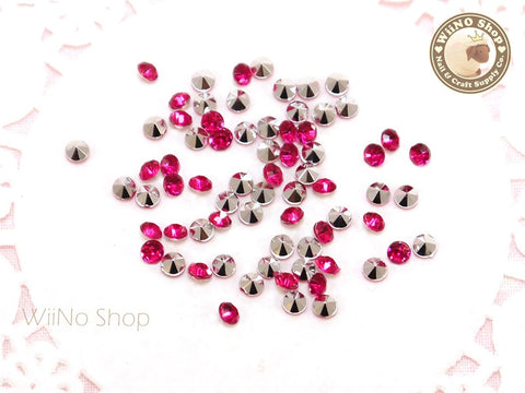 3mm Fuchsia Hot Pink Round Diamond Style 3D Point Back Acrylic Rhinestone - 50 pcs