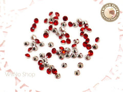 3mm Red Siam Round Diamond Style 3D Point Back Acrylic Rhinestone - 50 pcs