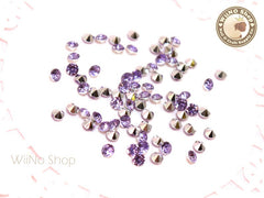 3mm Purple Lavender Round Diamond Style 3D Point Back Acrylic Rhinestone - 50 pcs