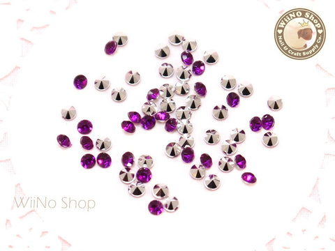 3mm Purple Violet Round Diamond Style 3D Point Back Acrylic Rhinestone - 50 pcs