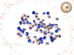 3mm Royal Blue Cobalt Round Diamond Style 3D Point Back Acrylic Rhinestone - 50 pcs