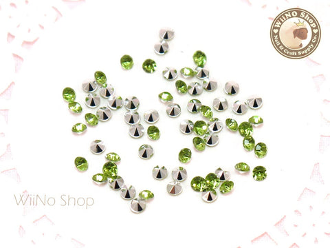 3mm Light Green Perdot Round Diamond Style 3D Point Back Acrylic Rhinestone - 50 pcs