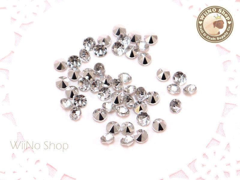 4mm Clear Round Diamond Style 3D Point Back Acrylic Rhinestone - 50 pcs