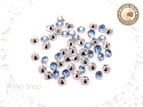 4mm Light Sapphire Blue Round Diamond Style 3D Point Back Acrylic Rhinestone - 50 pcs