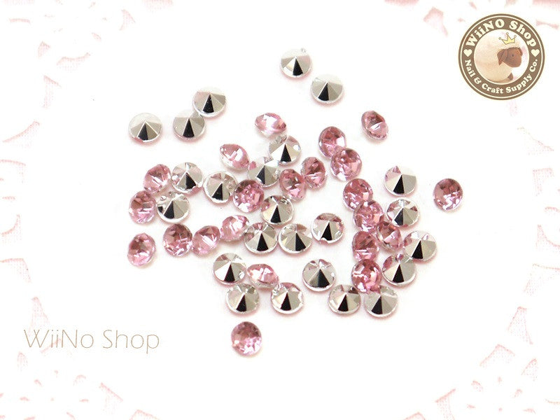 4mm Pink Light Rose Round Diamond Style 3D Point Back Acrylic Rhinestone - 50 pcs