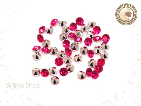 4mm Fuchsia Hot Pink Round Diamond Style 3D Point Back Acrylic Rhinestone - 50 pcs