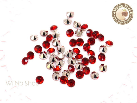 4mm Red Siam Round Diamond Style 3D Point Back Acrylic Rhinestone - 50 pcs