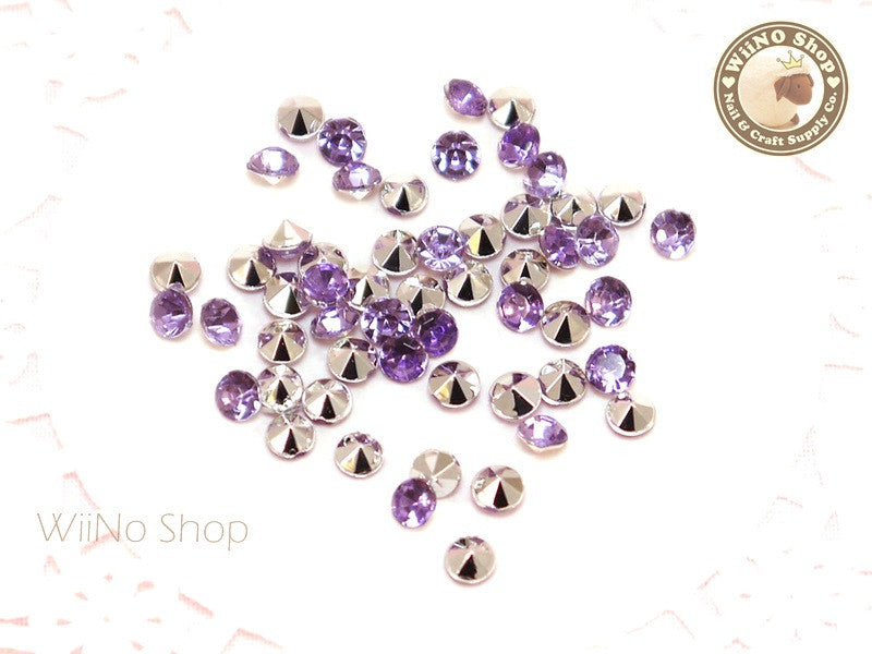 4mm Purple Lavender Round Diamond Style 3D Point Back Acrylic Rhinestone - 50 pcs