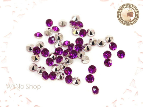 4mm Purple Violet Round Diamond Style 3D Point Back Acrylic Rhinestone - 50 pcs