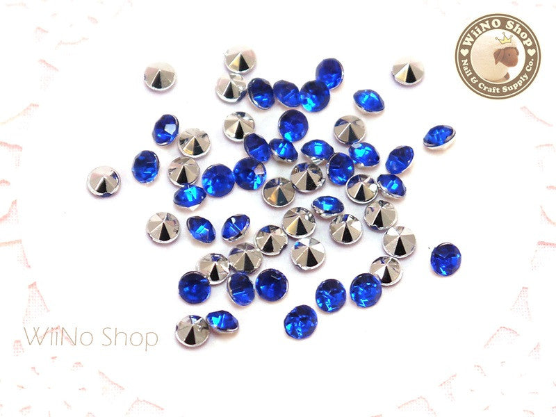 4mm Royal Blue Cobalt Round Diamond Style 3D Point Back Acrylic Rhinestone - 50 pcs