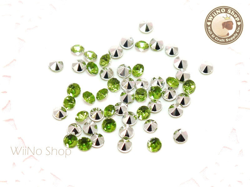 4mm Light Green Perdot Round Diamond Style 3D Point Back Acrylic Rhinestone - 50 pcs