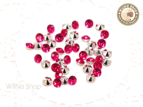 5mm Fuchsia Hot Pink Round Diamond Style 3D Point Back Acrylic Rhinestone - 50 pcs
