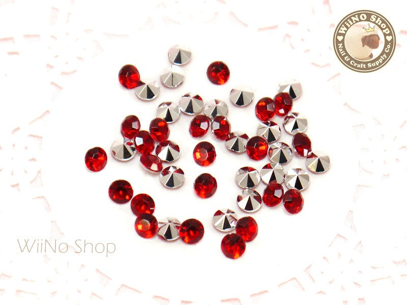 5mm Red Siam Round Diamond Style 3D Point Back Acrylic Rhinestone - 50 pcs