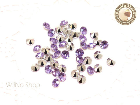 5mm Purple Lavender Round Diamond Style 3D Point Back Acrylic Rhinestone - 50 pcs