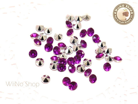 5mm Purple Violet Round Diamond Style 3D Point Back Acrylic Rhinestone - 50 pcs