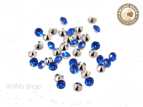 5mm Royal Blue Cobalt Round Diamond Style 3D Point Back Acrylic Rhinestone - 50 pcs