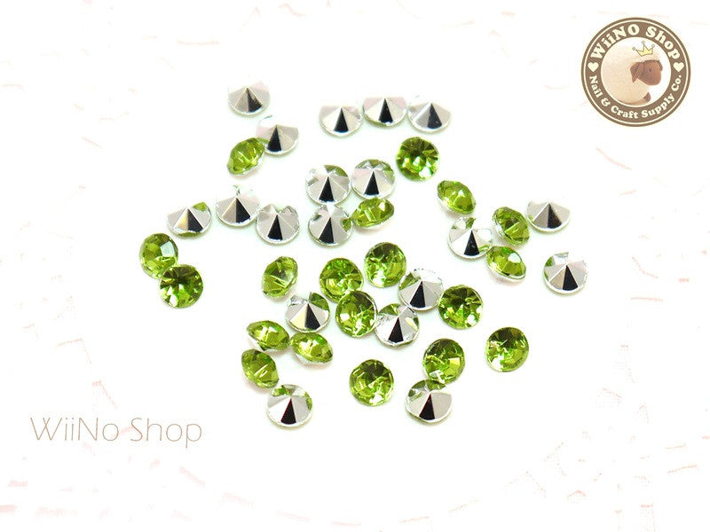 5mm Light Green Perdot Round Diamond Style 3D Point Back Acrylic Rhinestone - 50 pcs