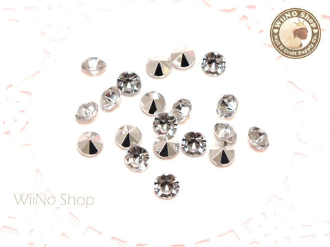 6mm Clear Round Diamond Style 3D Point Back Acrylic Rhinestone - 25 pcs