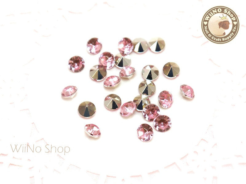 6mm Pink Light Rose Round Diamond Style 3D Point Back Acrylic Rhinestone - 25 pcs