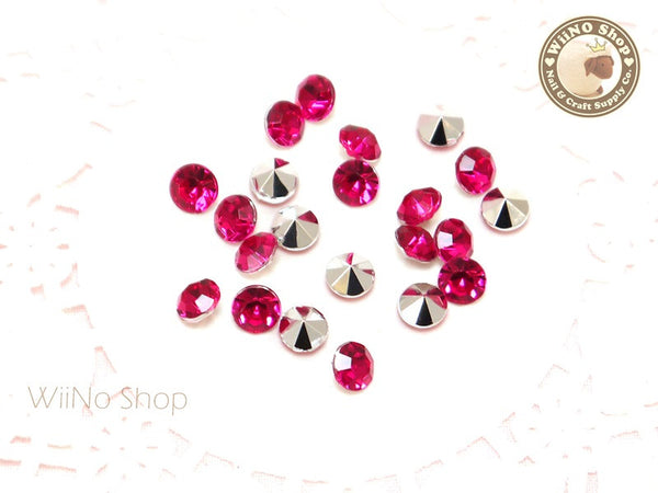 6mm Fuchsia Hot Pink Round Diamond Style 3D Point Back Acrylic Rhinestone - 25 pcs