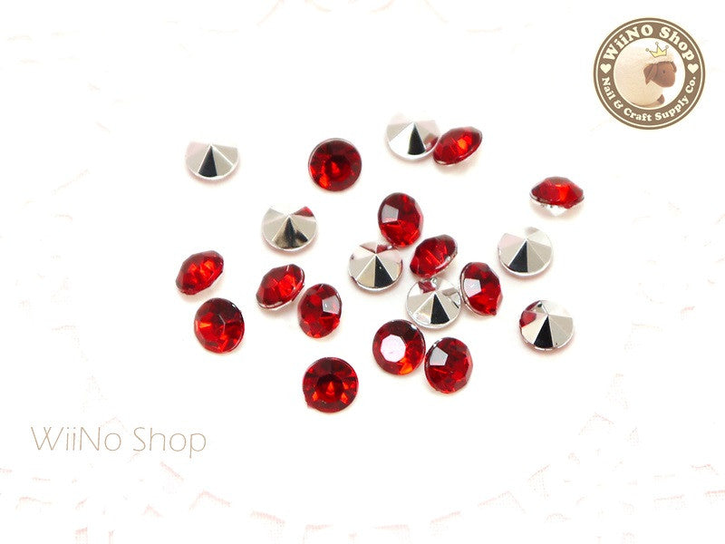 6mm Red Siam Round Diamond Style 3D Point Back Acrylic Rhinestone - 25 pcs