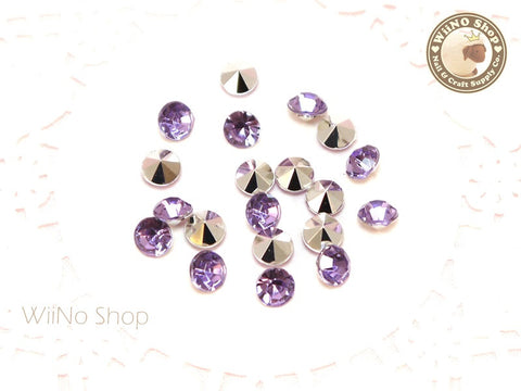 6mm Purple Lavender Round Diamond Style 3D Point Back Acrylic Rhinestone - 25 pcs