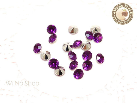 6mm Purple Violet Round Diamond Style 3D Point Back Acrylic Rhinestone - 25 pcs