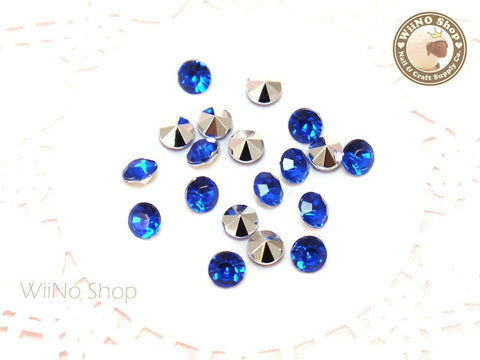 6mm Royal Blue Cobalt Round Diamond Style 3D Point Back Acrylic Rhinestone - 25 pcs