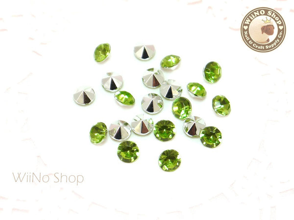6mm Light Green Perdot Round Diamond Style 3D Point Back Acrylic Rhinestone - 25 pcs