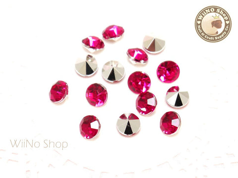 8mm Fuchsia Hot Pink Round Diamond Style 3D Point Back Acrylic Rhinestone - 15 pcs