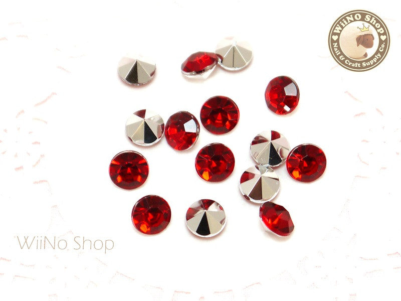 8mm Red Siam Round Diamond Style 3D Point Back Acrylic Rhinestone - 15 pcs
