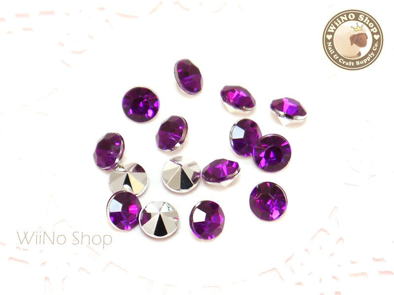 8mm Purple Violet Round Diamond Style 3D Point Back Acrylic Rhinestone - 15 pcs