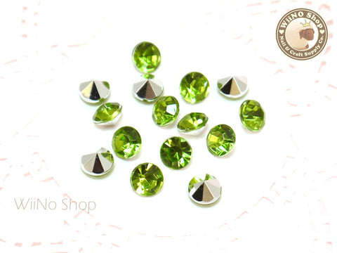 8mm Light Green Perdot Round Diamond Style 3D Point Back Acrylic Rhinestone - 15 pcs