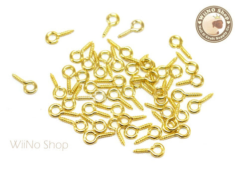 10 x 5mm Gold Screw Eye Pins, Screw Eye Bails - 20 pcs