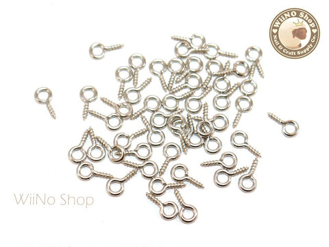 10 x 5mm Nickel Silver Screw Eye Pins, Screw Eye Bails - 20 pcs