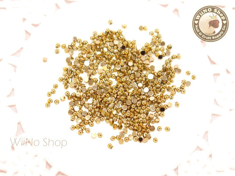 1.5mm Half Round Gold Chrome Flat Back Acrylic Cabochon Nail Art - 100 pcs