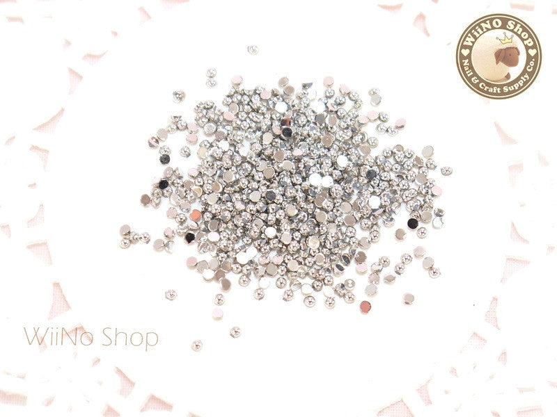 1.5mm Half Round Silver Chrome Flat Back Acrylic Cabochon Nail Art - 100 pcs