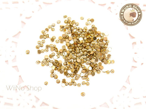 2mm Half Round Gold Chrome Flat Back Acrylic Cabochon Nail Art - 50 pcs