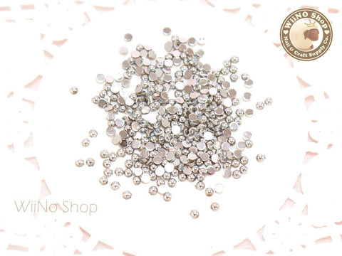 2mm Half Round Silver Chrome Flat Back Acrylic Cabochon Nail Art - 50 pcs